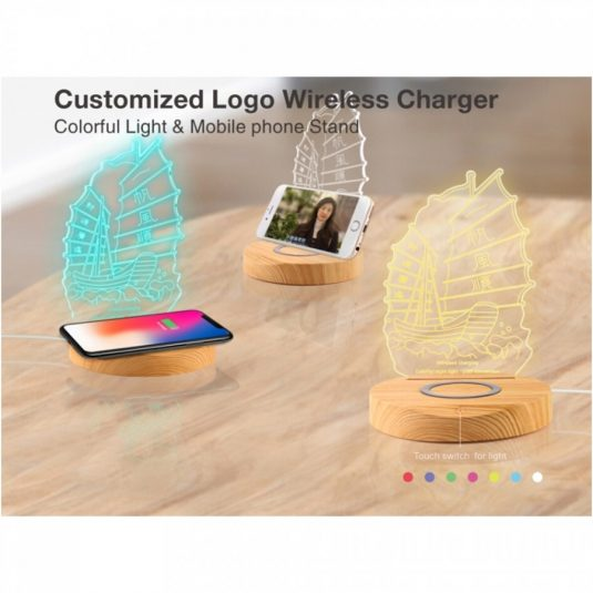 acrylic 3d led lamp with wireless charging